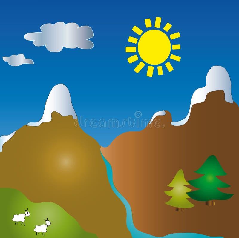 Paisaje de la historieta de la montaña stock de ilustración