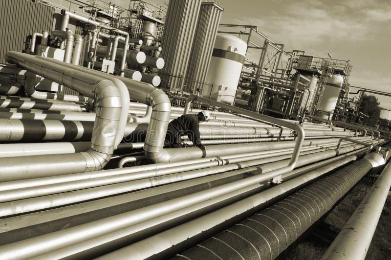 Paisaje de la industria de petróleo fotos de archivo