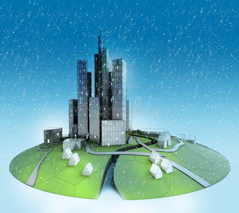 Paisaje de la isla de la ciudad con caer de la nieve stock de ilustración