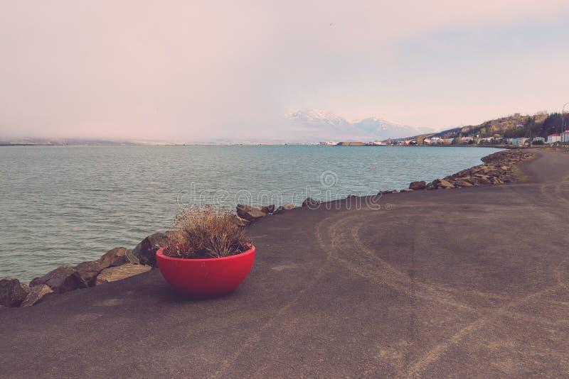Paisaje de la laguna del mar de la ciudad de Akureyri en Islandia entonado imagen de archivo