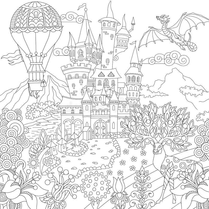 Paisaje de la magia del cuento de hadas de Zentangle ilustración del vector