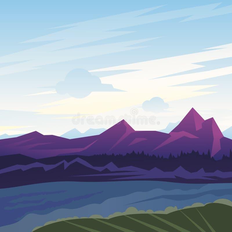 Paisaje de la montaña stock de ilustración