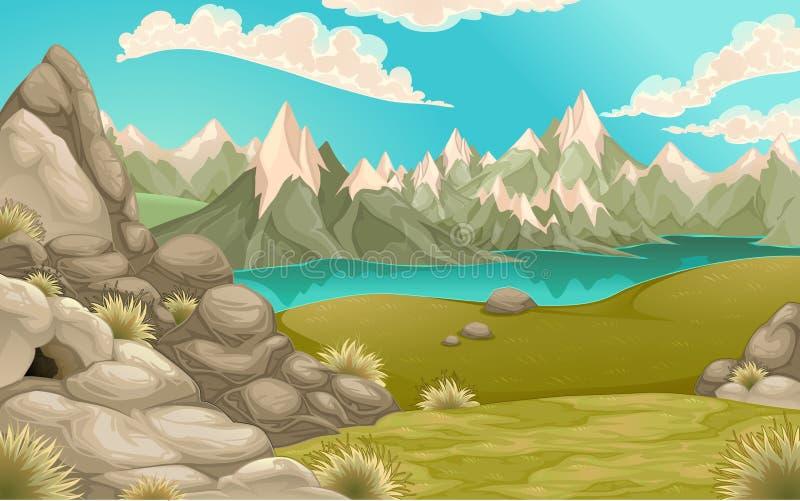 Paisaje de la montaña con el lago stock de ilustración