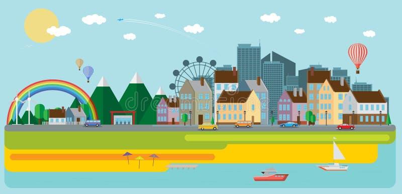Paisaje de la montaña con el mar Ilustración del vector libre illustration