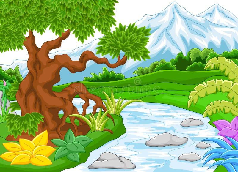 Paisaje de la montaña con el río stock de ilustración