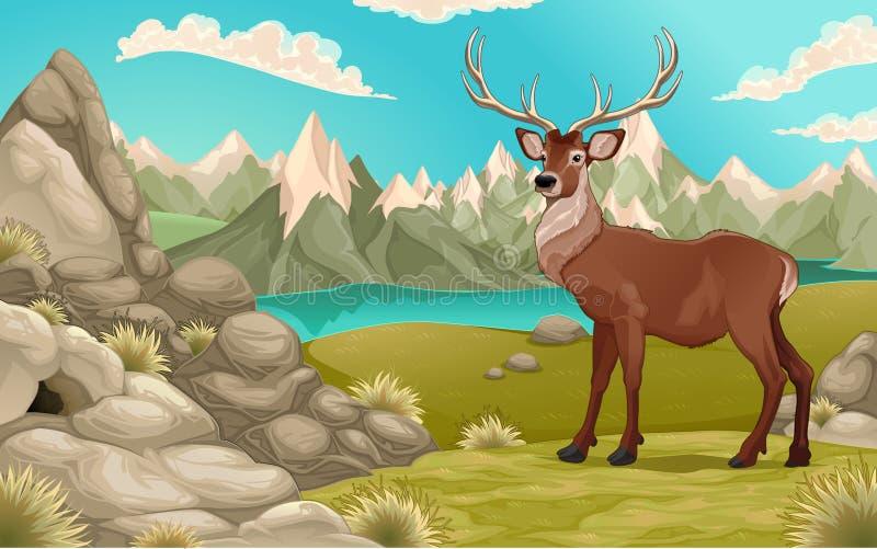 Paisaje de la montaña con los ciervos stock de ilustración