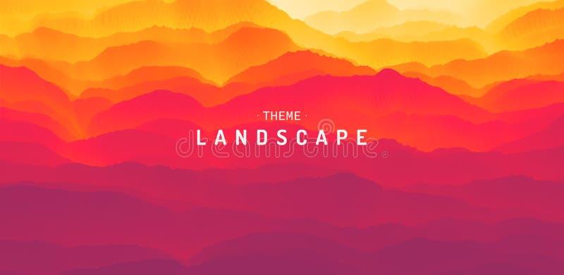 Paisaje de la montaña con un amanecer Puesta del sol Terreno montañoso Silueta de las colinas abstraiga el fondo Ilustración del  stock de ilustración