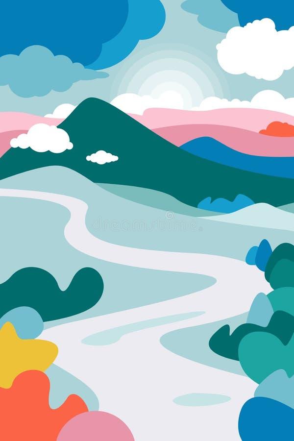 Paisaje de la montaña con un río que curva en el primero plano y los bosques que lo enmarcan Nubes de c?mulo stock de ilustración