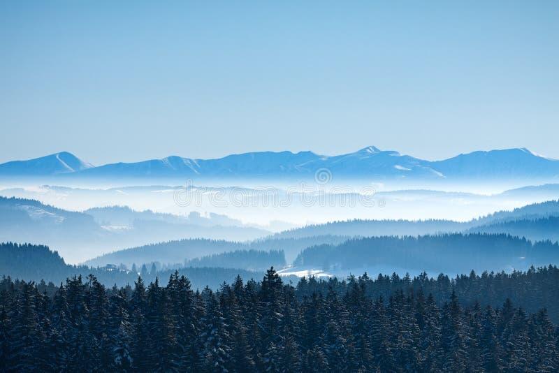 Paisaje de la montaña de la calma del invierno de la mañana imagenes de archivo
