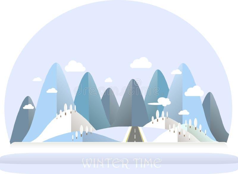 Paisaje de la montaña del invierno Colinas azules y blancas, cielo, nubes, árbol Diseño plano ilustración del vector