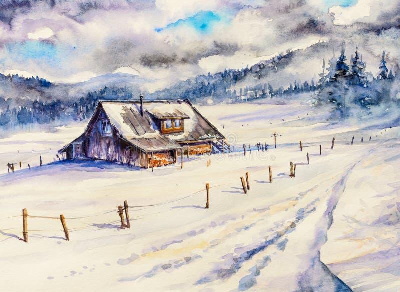 Paisaje de la montaña del invierno con la casa de madera y el cielo nublado stock de ilustración