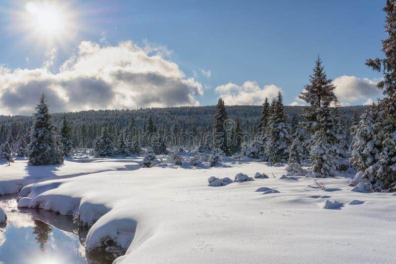 Paisaje de la montaña del invierno con la corriente y el puente de madera fotografía de archivo