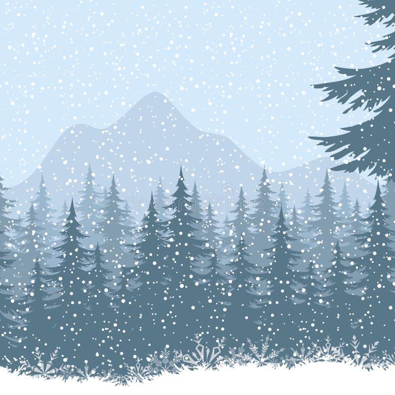 Paisaje de la montaña del invierno con los abetos stock de ilustración
