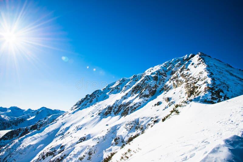 Paisaje de la montaña del invierno contra el cielo azul. fotografía de archivo libre de regalías