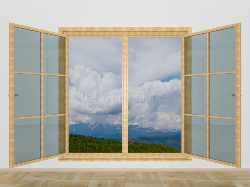 Paisaje de la montaña detrás de una ventana libre illustration