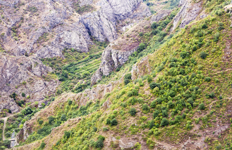 Paisaje de la montaña El paisaje en Armenia (Tatev) foto de archivo