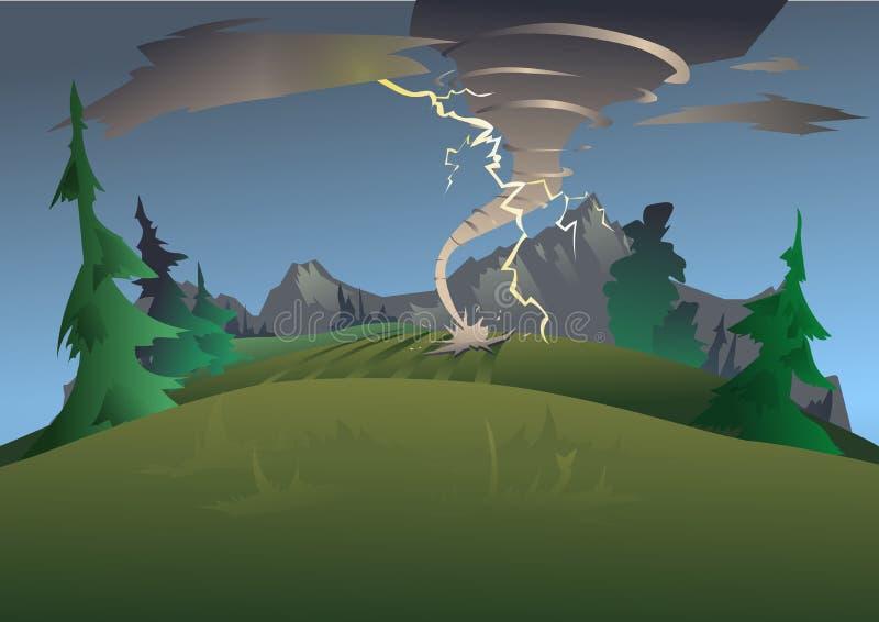 Paisaje de la montaña en mún tiempo Tornado, huracán y relámpago Ilustración del vector stock de ilustración
