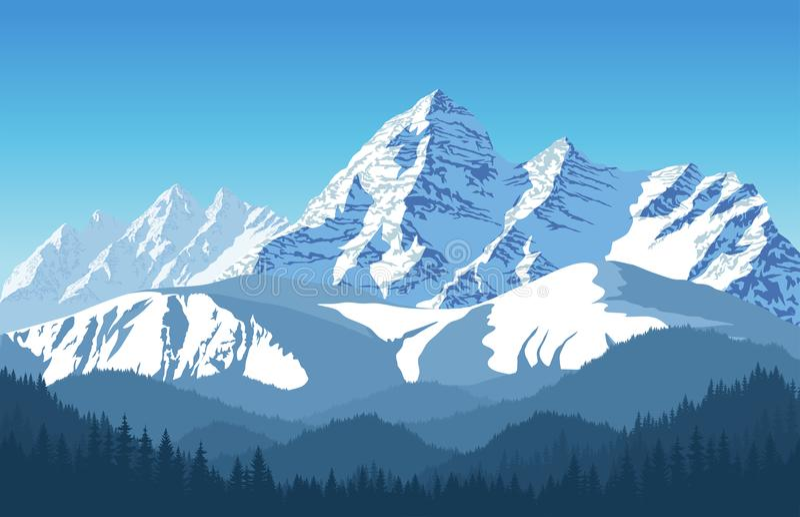 Paisaje de la montaña de las montañas en Europa Suiza ilustración del vector