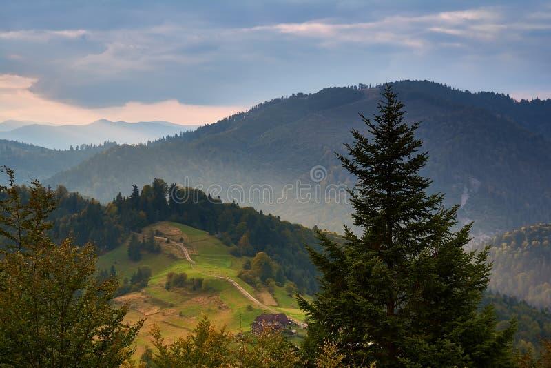 Paisaje de la montaña, mañana soleada del otoño Montañas cárpatas, Mizhhiria, Ucrania fotos de archivo libres de regalías
