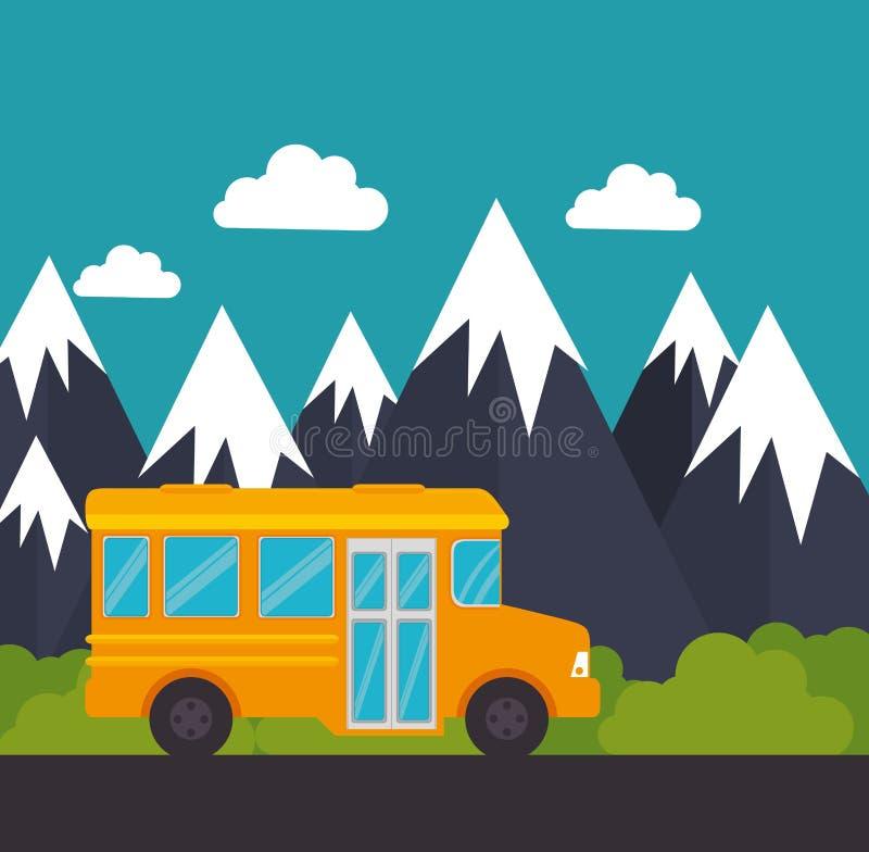 Paisaje de la montaña de la nieve del autobús escolar stock de ilustración