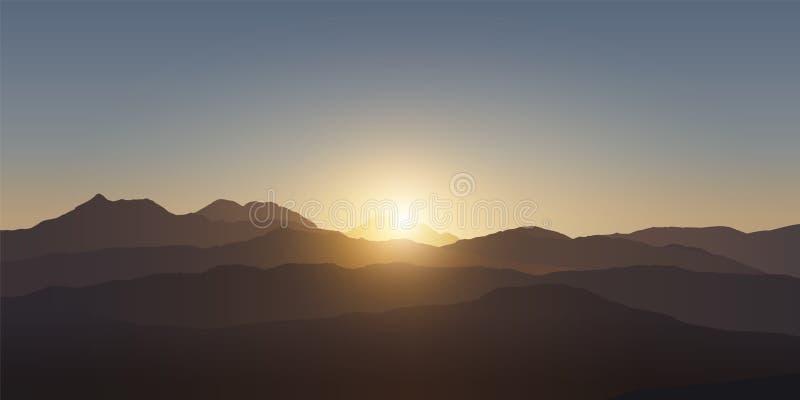 Paisaje de la montaña Puesta del sol en las montañas Ilustración realista del vector ilustración del vector