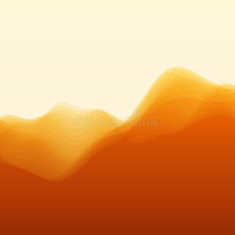 Paisaje de la montaña Siluetas del vector de ilustración del vector