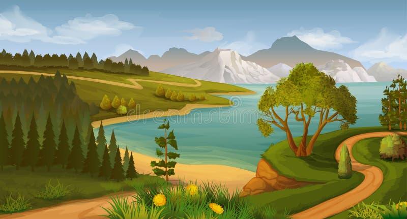 Paisaje de la naturaleza, bahía del mar stock de ilustración