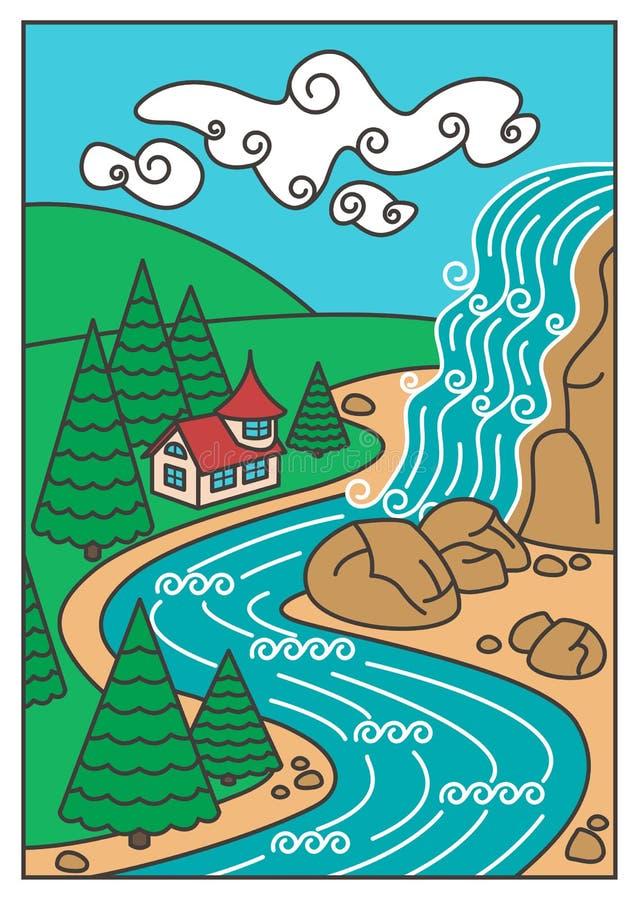 Paisaje de la naturaleza - cascada, río, montañas y la casa hermosa ilustración del vector