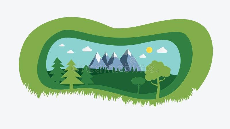 paisaje de la naturaleza con el ejemplo cortado de papel del vector del diseño del estilo Campo natural verde con los árboles, co stock de ilustración