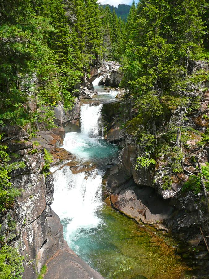 Paisaje de la naturaleza con el río hermoso y las pequeñas cascadas stock de ilustración