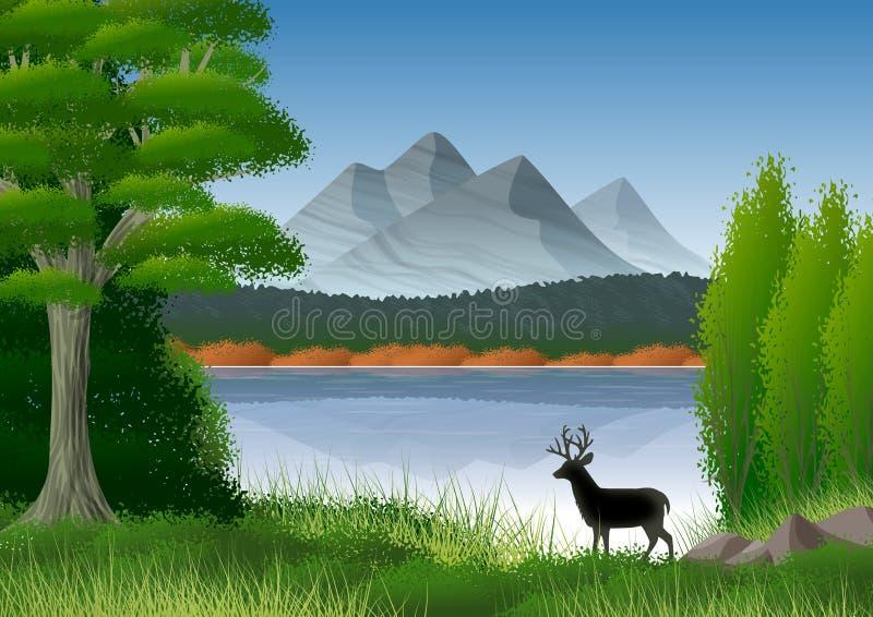 Paisaje de la naturaleza con las montañas, el lago y el árbol frondoso en el primero plano Todavía un ciervo en silueta stock de ilustración