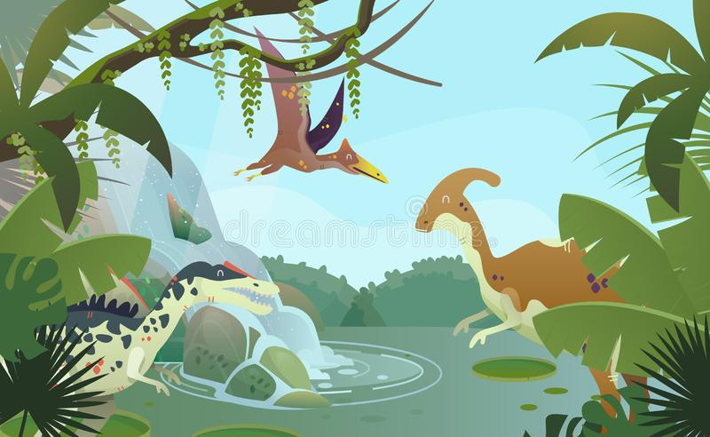Paisaje de la naturaleza con los dinosaurios prehistóricos ilustración del vector