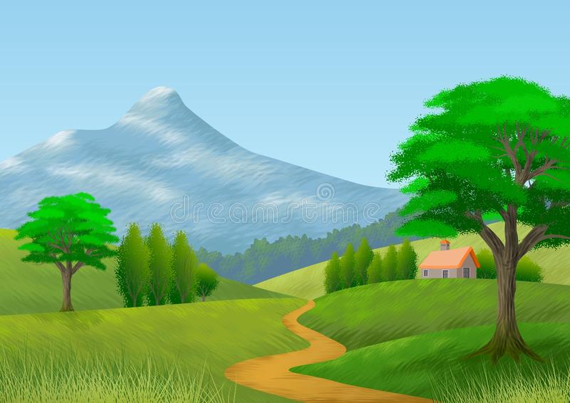 Paisaje de la naturaleza con la montaña, los árboles, las colinas, una trayectoria y una cabaña wallpaper Fondo stock de ilustración