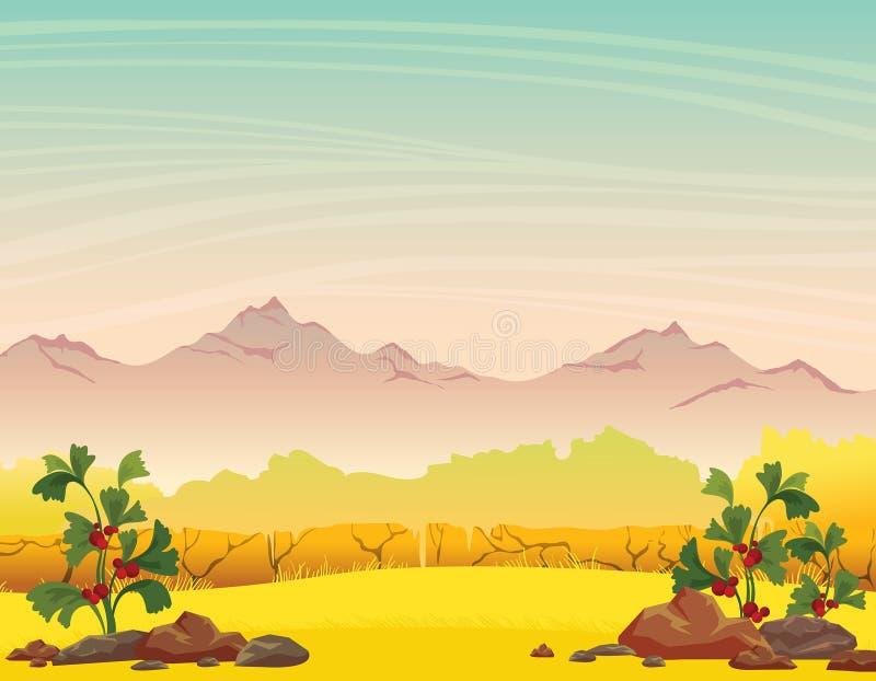 Paisaje de la naturaleza del otoño - montañas, hierba, plantas ilustración del vector