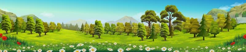 Paisaje de la naturaleza del prado y del bosque stock de ilustración