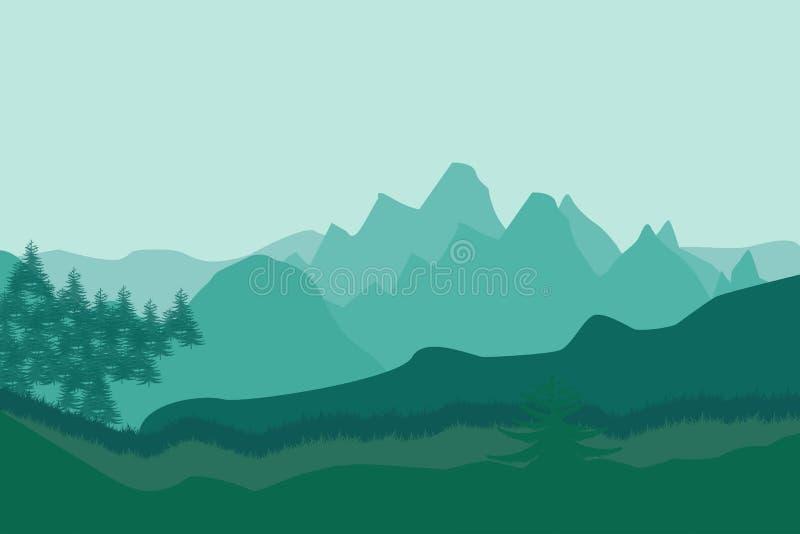 Paisaje de la naturaleza en estilo plano Paisaje del vector Montañas Ilustración del vector imagenes de archivo