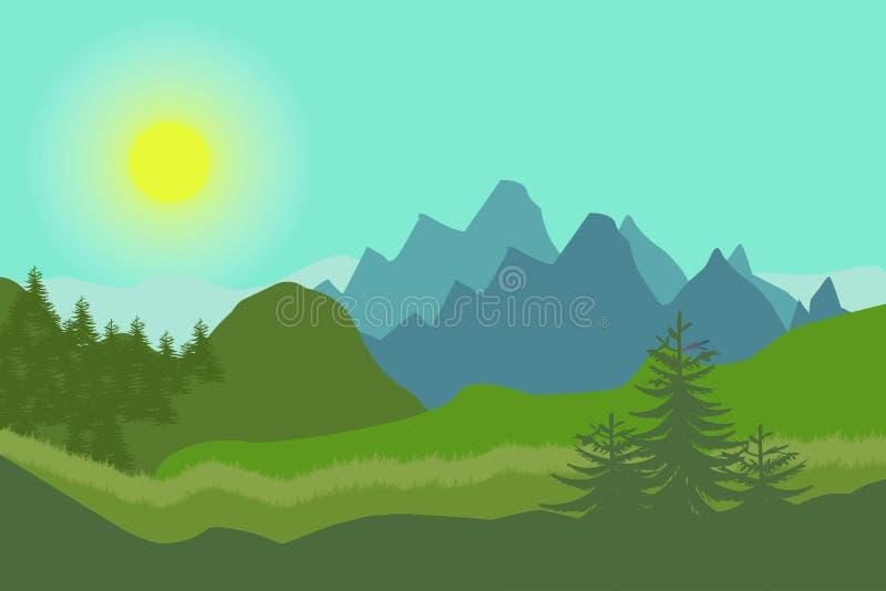 Paisaje de la naturaleza en estilo plano Paisaje del vector Montañas Ilustración del vector fotografía de archivo libre de regalías