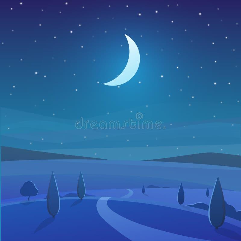 Paisaje de la naturaleza de la noche en el campo stock de ilustración