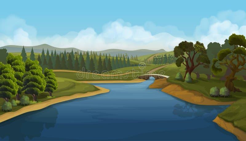 Paisaje de la naturaleza, río stock de ilustración