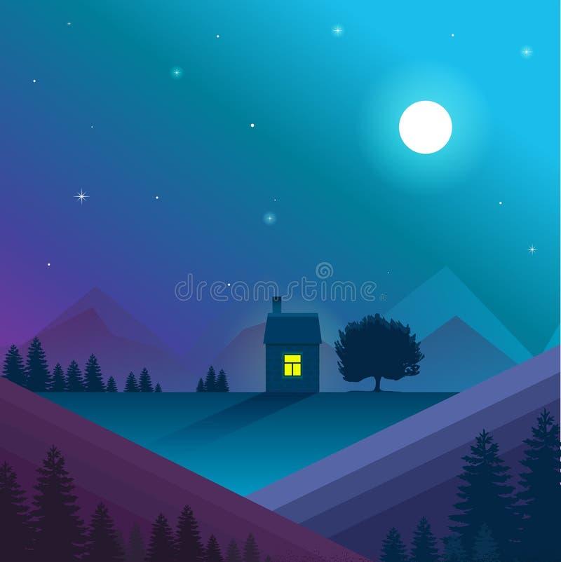 Paisaje de la naturaleza Vector, eps10 Paisaje de la naturaleza de la noche con la casa sola ilustración del vector