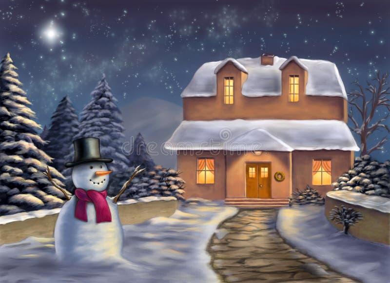 Paisaje de la Navidad stock de ilustración