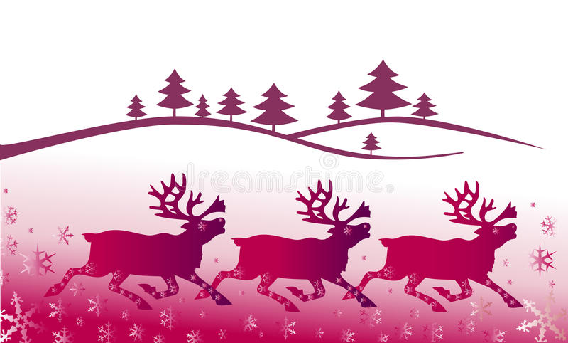 Paisaje de la Navidad con deers ilustración del vector