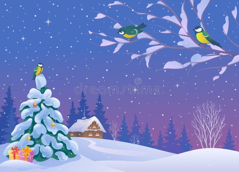Paisaje de la Navidad con los pájaros stock de ilustración