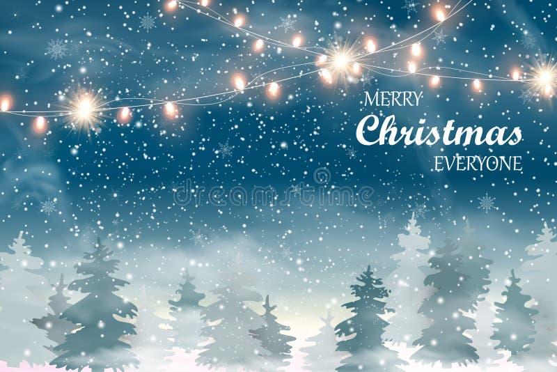 Paisaje de la Navidad con nieve de la Navidad que cae, paisaje conífero del invierno del día de fiesta del bosque para la Feliz N stock de ilustración
