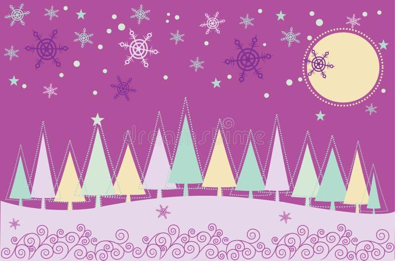 Paisaje de la Navidad del invierno ilustración del vector