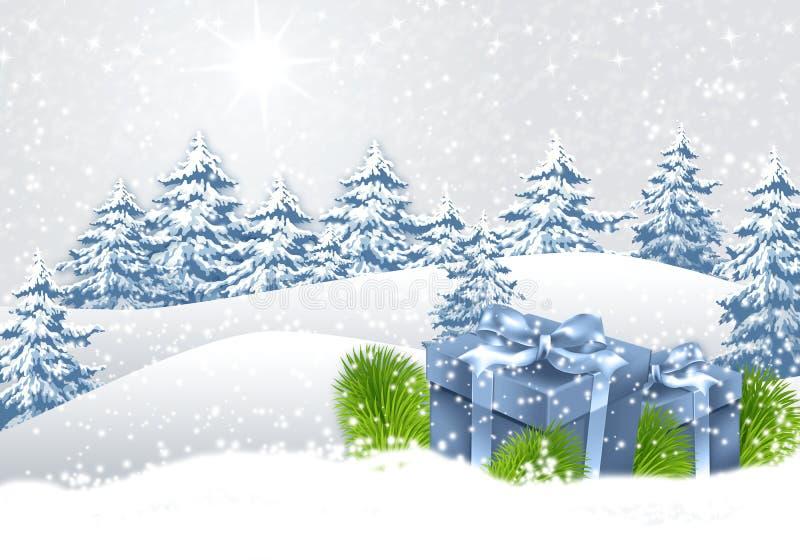 Paisaje de la Navidad del invierno fotografía de archivo
