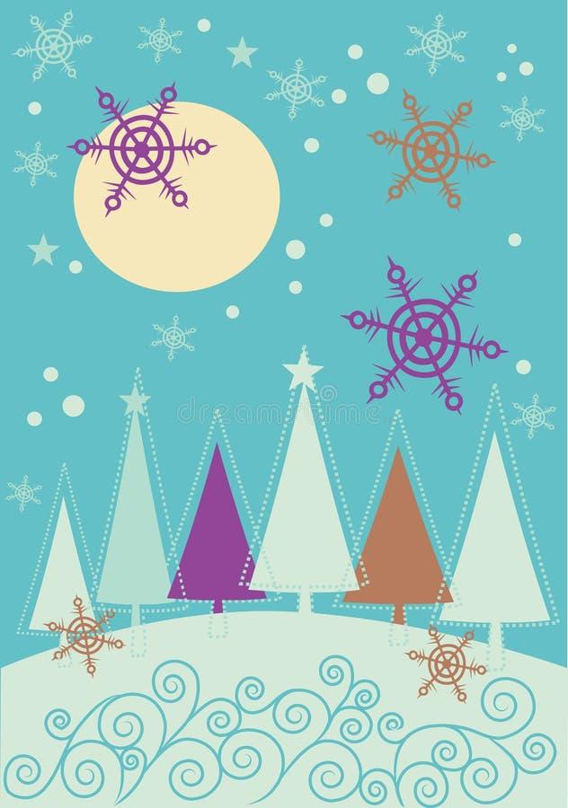 Paisaje de la Navidad del invierno con el bosque del árbol de abeto libre illustration