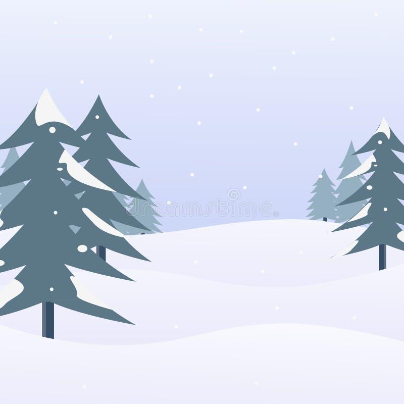 Paisaje de la nieve con los árboles de pino Escena y fondo del invierno Ilustración del vector ilustración del vector