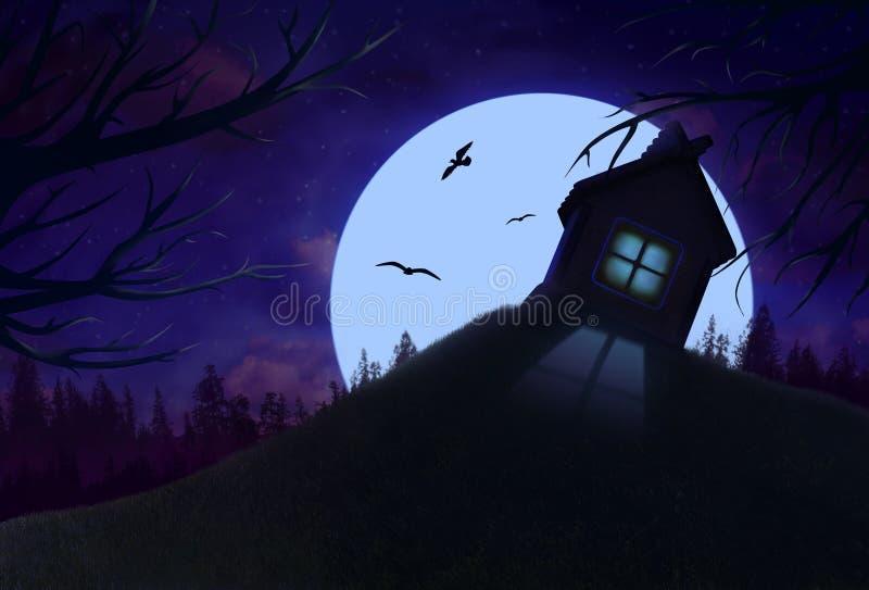 Paisaje de la noche con la casa solitaria en la colina ilustración del vector