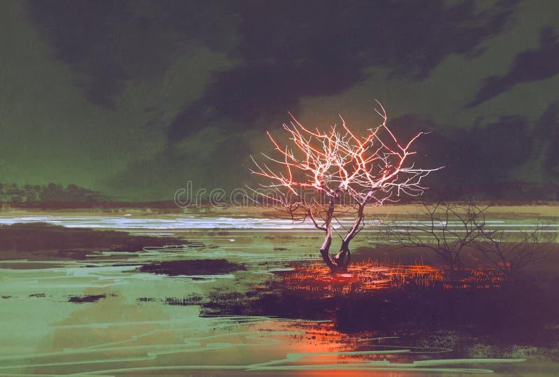Paisaje de la noche con el árbol que brilla intensamente ilustración del vector